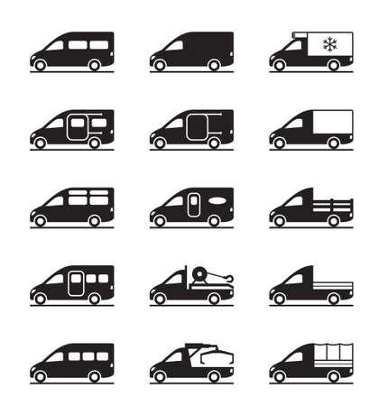 Varios tipos de furgonetas y pastillas - ilustración vectorial
