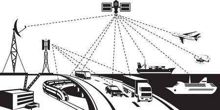 gprs: Navigation and vehicle tracking - vector illustration