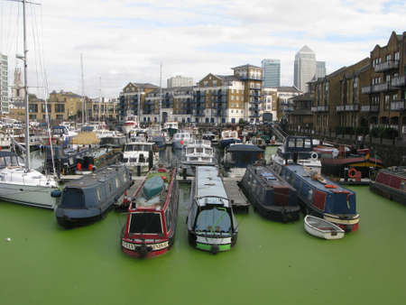 Boats in Limehouse Basin, London, England, UK