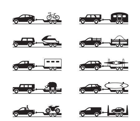 Vans and pickup trucks with trailers - vector illustration