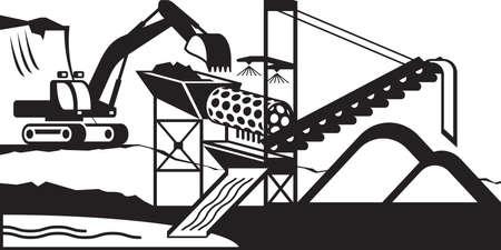 gold mining: Gold mining wash plant - vector illustration