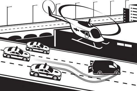 violator: Police patrol chasing criminal - vector illustration