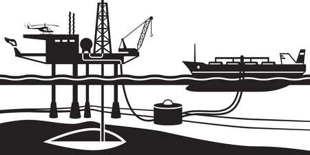 oil rig: Tanker loading petrol from offshore oil rig