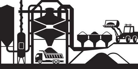 Asphalte usine de mélange - illustration vectorielle