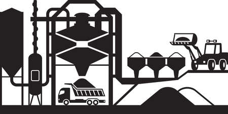 Asphalt mixing plant - vector illustration