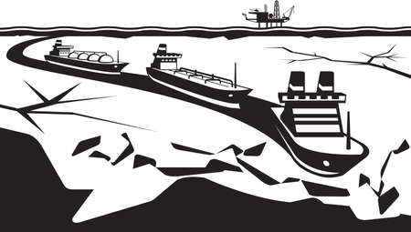 waterway: Icebreaker make way for industrial ships Illustration