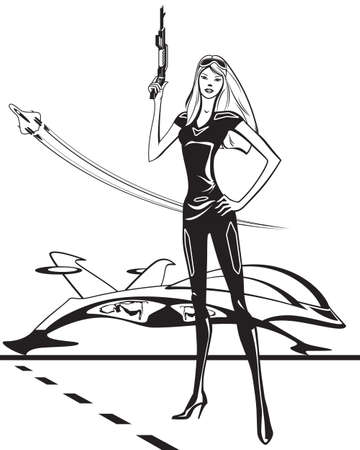 cyber woman: Cyber woman with spaceship and rifle Illustration