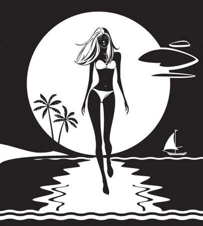 lyric: Girl walking on the beach at sunset Illustration