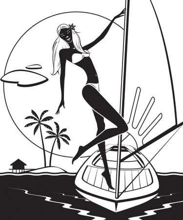 sundown: Yacht with girl on deck at sunset - vector illustration