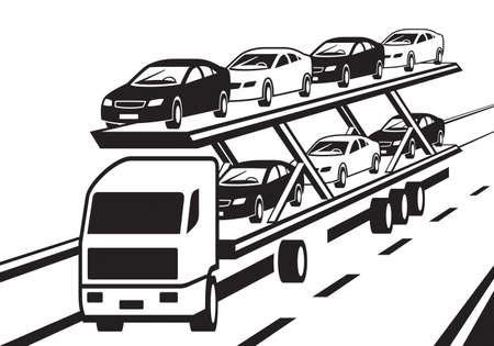Car transporter truck on highway.