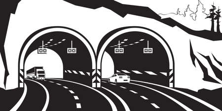 highway: Highway tunnel in the mountains - vector illustration Illustration