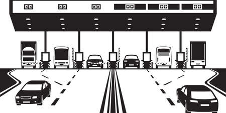 highway: Road tax checkpoint on highway - vector illustration