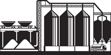 Silos para cereales de grano - ilustración vectorial
