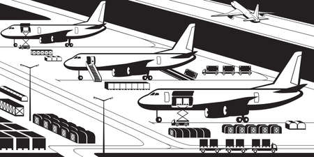 Airplanes at cargo airport - vector illustration Illustration