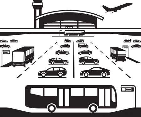 busses: Airport parking transfer buses - vector illustration