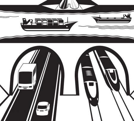 水の下で鉄道や高速道路のトンネル