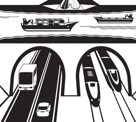 물에서 철도 및 고속도로 터널 일러스트