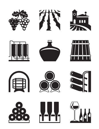 Wineyard  icon set - vector illustration
