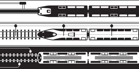 電気鉄道の列車の上 - ベクトル図から  イラスト・ベクター素材
