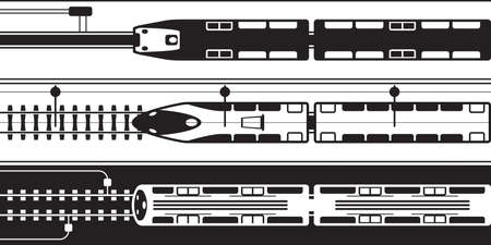 Electrical rail trains from above - vector illustration