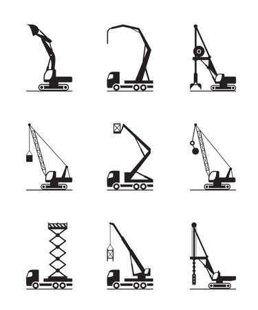 Hoge bouwmachines - vectorillustratie