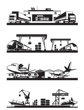 cargo transport: Transport cargo terminals - vector illustration Illustration
