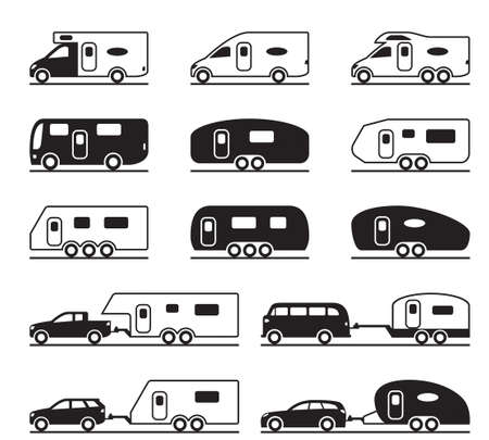 Different caravans and campers - vector illustration Ilustração