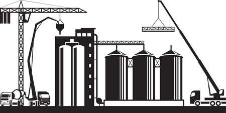 Construction of grain silo - vector illustration Çizim