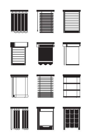 Different interior blinds - vector illustration Illustration