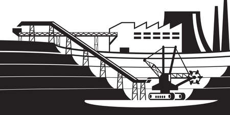 Conveyor line from open pit - vector illustration