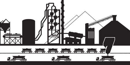 Cement production plant - vector illustration
