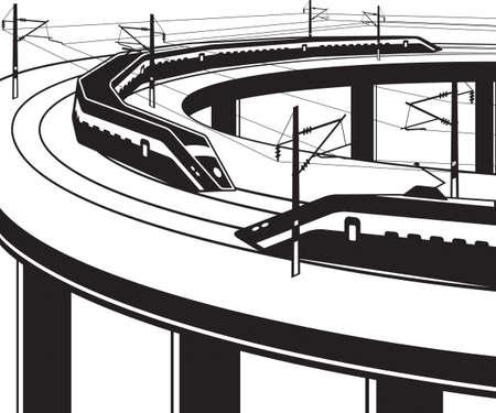 Passenger trains pass through bridge on white background.
