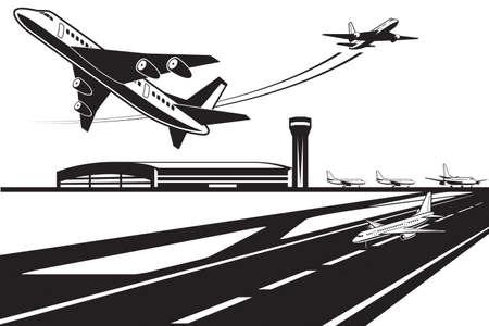 Aviones esperando su turno para despegar Foto de archivo - 87915688