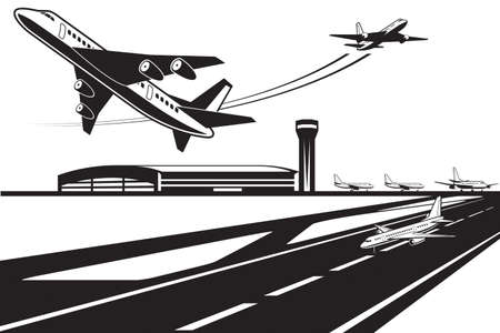 Planes waiting for their turn to take off Stock Illustratie