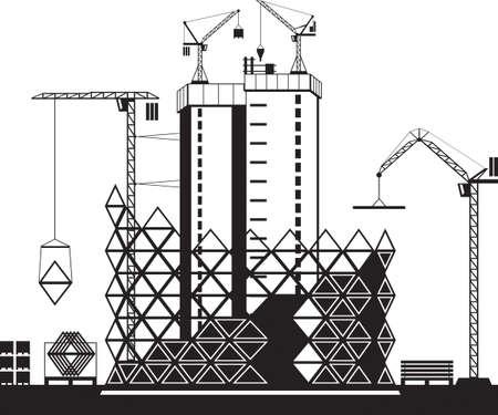 Construction of high rise buildings - vector illustration Иллюстрация