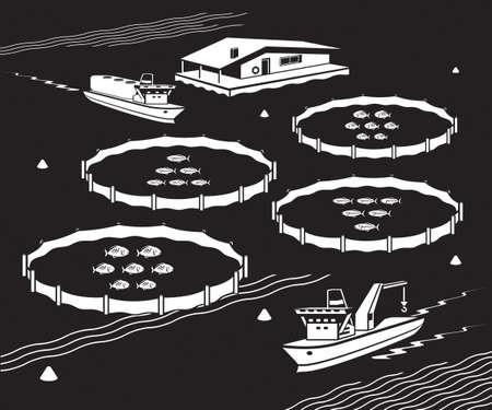 Ferme de poissons de mer - illustration vectorielle
