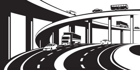 Échangeur à trois niveaux sur autoroute - illustration vectorielle