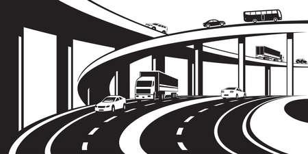 Scambio a tre livelli sulla strada principale - illustrazione di vettore