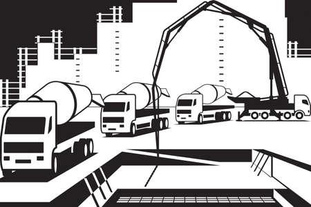 Wylewanie betonu na plac budowy Ilustracje wektorowe