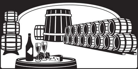 Wine cellar with a tasting plate - vector illustration