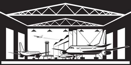 Aircraft hangar at airport - vector illustration