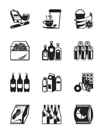 Small grocery store icon set - vector illustration Illustration