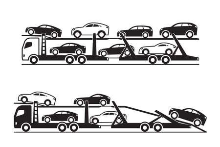 Car transporter trucks  vector illustration