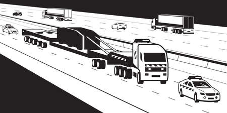 Heavy duty truck with pilot cars on highway