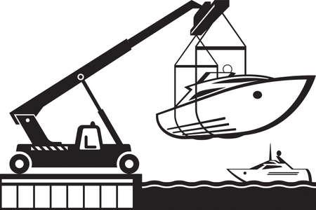 Crane launching yacht in water - vector illustration Vektoros illusztráció