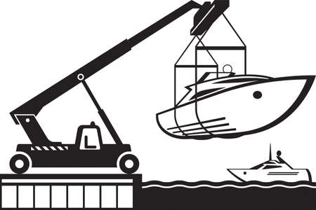 Crane launching yacht in water  - vector illustration