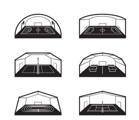 Overdekte sportfaciliteiten - vectorillustratie Stockfoto - 96193175