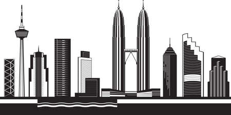Kuala Lumpur skyline by day vector illustration.