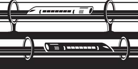 Hyperloop overground and underground trains isolated on plain background Ilustração
