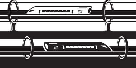 Hyperloop overground and underground trains isolated on plain background Illustration